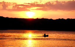 Sunset boater Royalty Free Stock Image