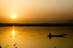 Sunset Boatman Royalty Free Stock Image
