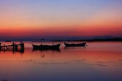 Sunset boats Royalty Free Stock Image