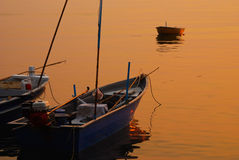 Sunset and Boats Royalty Free Stock Photography