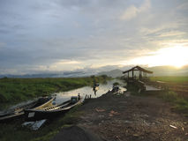 Sunset with boats. On the river - Inle lake - Myanmar Royalty Free Stock Photography