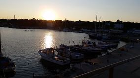 Sunset and boats in AHtopol. Sunset and boats in old AHtopol Stock Photo