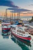 Sunset boats Stock Photography