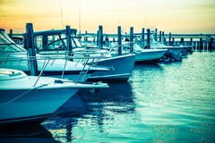 Sunset Boats Royalty Free Stock Images
