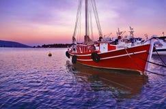 Sunset boats at Eretria Euboea Greece Stock Photography