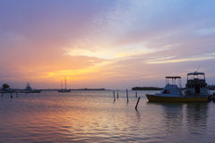 Sunset boats Luminous Lagoon, Martha Brae River, Jamaica Royalty Free Stock Image