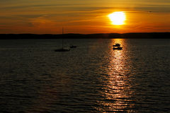 Sunset Boats Water St. Andrews Canada royalty free stock photo