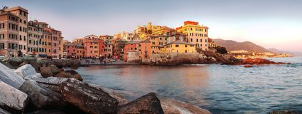 Sunset in Boccadasse panorame image royalty free stock image