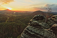 Sunset in Bohemian Switzerland Stock Image