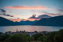 Sunset at Boka Kotorska bay. With majestic clouds, travel landscape, Dobrota, Montenegro stock photos