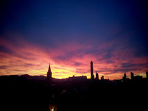 Sunset of Bologna Royalty Free Stock Photos