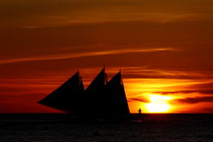 Sunset at Boracay. Beautiful sunset with nice sky at White Beach, Boracay, Philippines royalty free stock photo