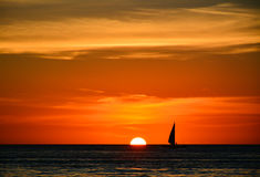 Sunset in Boracay, Philippines. With a boat in the foreground stock photography