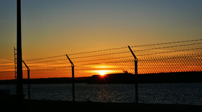 Sunset Border Fence Royalty Free Stock Photos