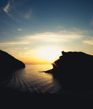 Sunset at Boscastle harbour. A natural inlet at Boscastle in Cornwall, UK Royalty Free Stock Photography