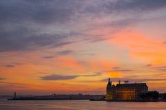 Sunset at Bosphorus. Golden sky over Bosphorus, Istanbul, Turkey during sunset. Taken from Kadikoy Ferry Terminal stock image