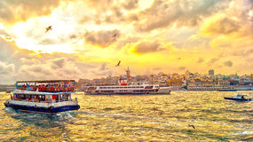 Sunset in Bosphorus hdr image Royalty Free Stock Photography