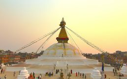 Sunset at the boudhanath stupa kathmandu nepal Royalty Free Stock Photography