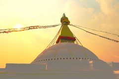 Sunset at the boudhanath stupa kathmandu nepal Stock Photography