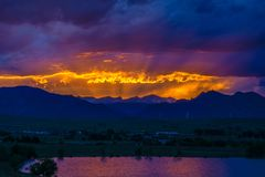 Sunset in Boulder, Colorado. Sunset on the mountain in Boulder, Colorado Royalty Free Stock Photos