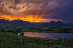 Sunset in Boulder, Colorado. Sunset on the mountain in Boulder, Colorado Stock Photography