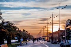 Sunset on the Boulevard. Batumi Boulevard in the evening Stock Image