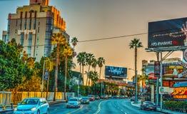 Sunset boulevard at dusk. Los Angeles, CA, USA - October 29, 2016: Sunset boulevard at dusk stock image