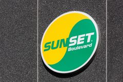 Sunset Boulevard logo on a wall. Risskov, Denmark - September 11, 2016: Sunset Boulevard logo on a wall. Sunset Boulevard is a Danish fast-food chain with 45 Stock Images