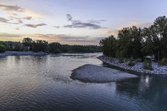 Sunset on Bow River Royalty Free Stock Images