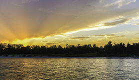 Sunset on Bow River. In a sunny day royalty free stock photography
