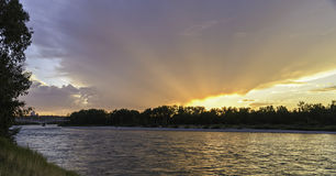 Sunset on Bow River. In a sunny day royalty free stock photos