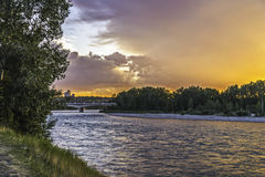 Sunset on Bow River Stock Photo