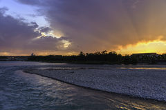 Sunset on Bow River. In a sunny day stock images