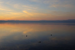 Sunset on the Bracciano lake Royalty Free Stock Images