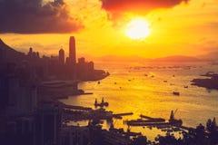 Sunset at Braemar hill. Hong Kong city skyline, Hong Kong sunset from Braemar hill a destination viewpoint to observe Victoria Harbour, Hong Kong Stock Photo