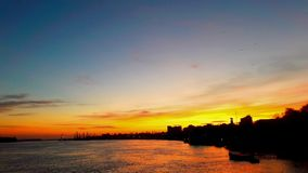 Sunset in Braila port on Danube river Royalty Free Stock Photography