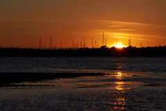 Sunset in Branden, Salling, Denmark. With a view to the marina Royalty Free Stock Images