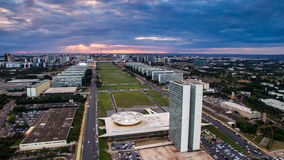 Sunset in Brasilia. Showing Congresso Nacional building Stock Photo