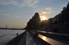 Sunset in Bratislava stock photo