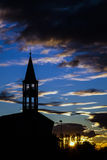 Sunset in Brianza. Sunset with church and bell tower in Brianza Stock Photo