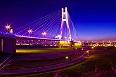 Sunset with the bridge. In Taiwan Stock Photo