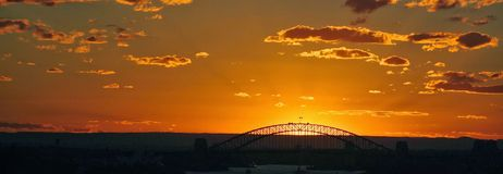 Sunset with Bridge in background Royalty Free Stock Photography