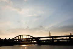 Sunset bridge Royalty Free Stock Image