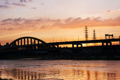 Sunset bridge Royalty Free Stock Photography