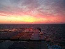 Sunset from bridge of containership Stock Images
