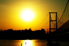Sunset Bridge. (history) at Tak Thailnd Stock Photo
