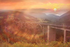 Sunset Bridge Mountain Royalty Free Stock Images
