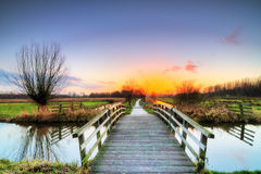 Sunset bridge in the polder Royalty Free Stock Image