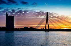Free Sunset Bridge River Daugava Riga Stock Photo - 40113570
