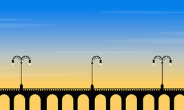At sunset bridge scenery with street lamp. Vector art royalty free illustration